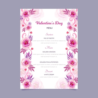 Watercolor template valentine's day menu