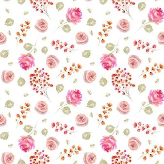 水彩の柔らかいピンクのバラと緑のバラの葉のシームレスなパターン