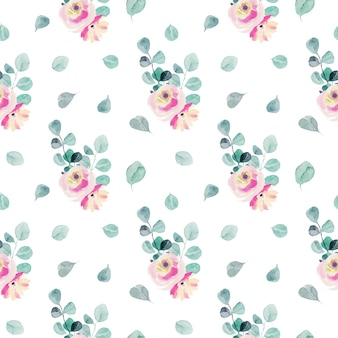 水彩の柔らかいピンクのバラ、ユーカリの枝と葉のシームレスなパターン