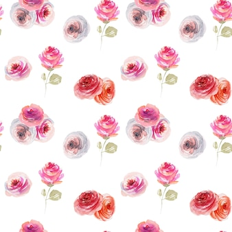 Watercolor tender pink and white roses seamless pattern