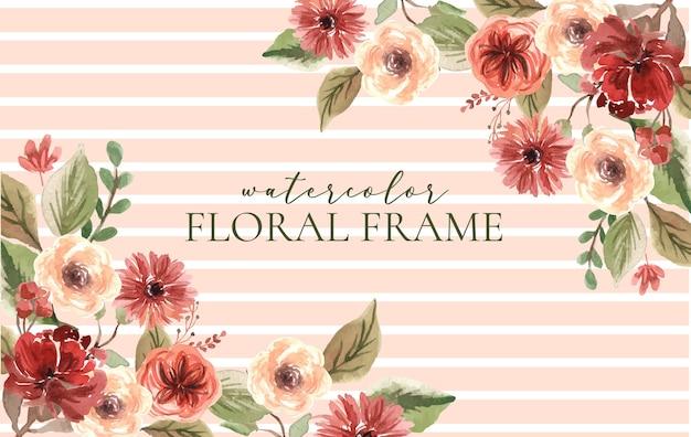 水彩テラコッタと茶色の花のフレーム