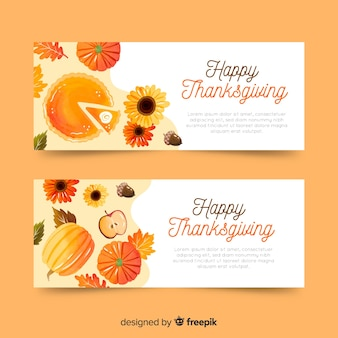 Watercolor thanksgiving autumn banners