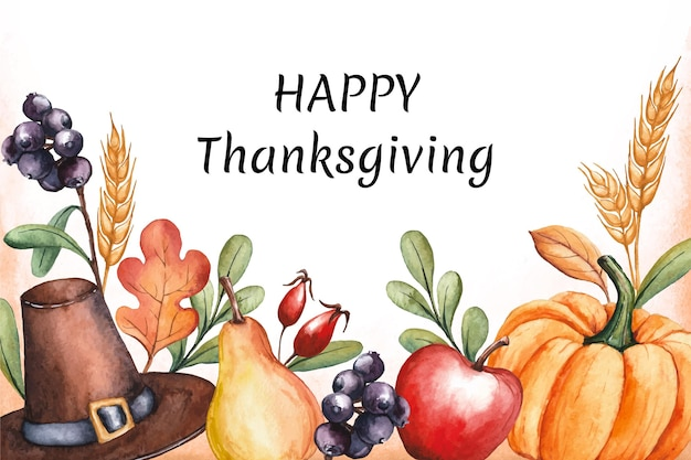 Watercolor thanksgiving background with crops