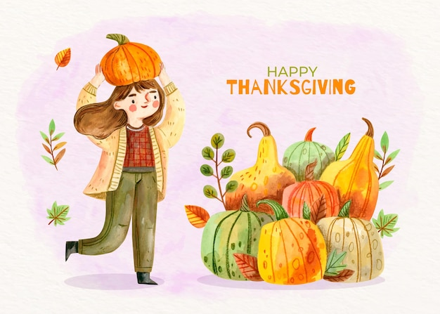 Watercolor thanksgiving background with girl