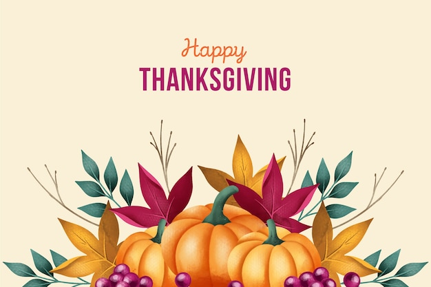 Watercolor thanksgiving background with pumpkins