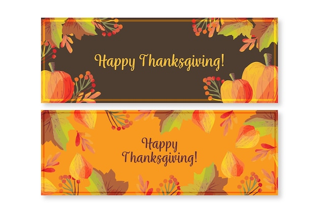 Watercolor thanksgiving banners template