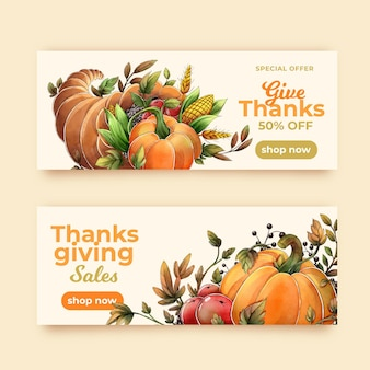Watercolor thanksgiving banners