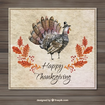 Watercolor thanksgiving card