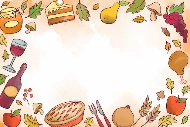 Watercolor thanksgiving day background theme
