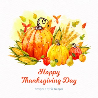Watercolor thanksgiving day background