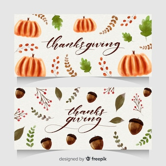 Watercolor thanksgiving day banner set