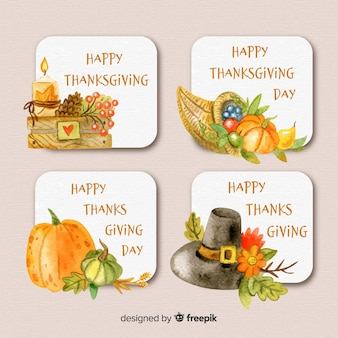 Watercolor thanksgiving day label collection