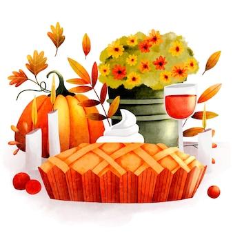 Watercolor thanksgiving illustration