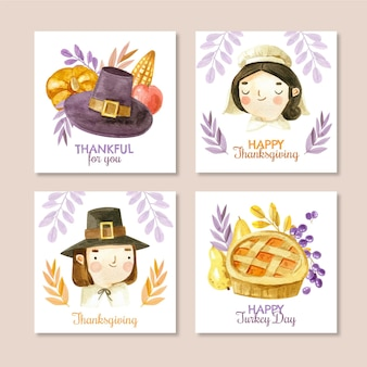 Watercolor thanksgiving instagram posts collection