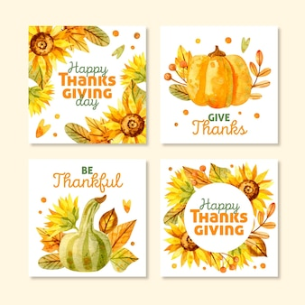 Watercolor thanksgiving instagram posts set