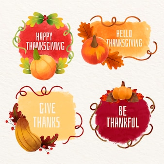 Watercolor thanksgiving labels collection