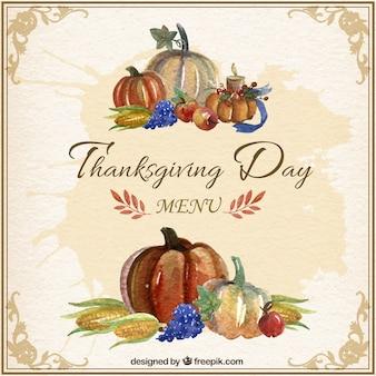 Watercolor Thanksgiving Menu Card