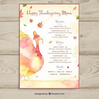 Watercolor thanksgiving menu template