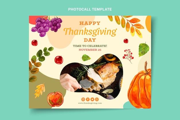Modello di photocall del ringraziamento ad acquerello