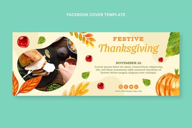 Watercolor thanksgiving social media cover template