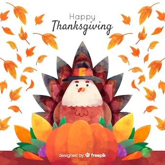 Watercolor thanksgiving table background