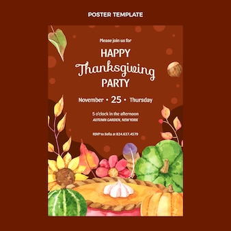 Watercolor thanksgiving vertical poster template
