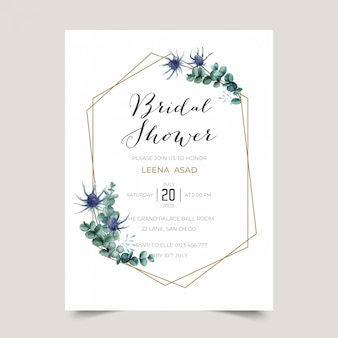 Watercolor thistle invitation for bridal shower party