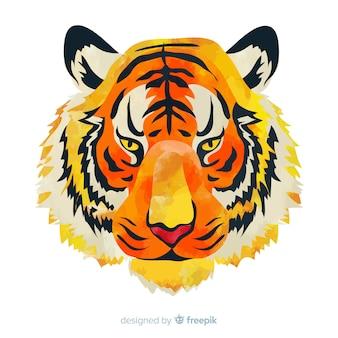 Watercolor tiger head