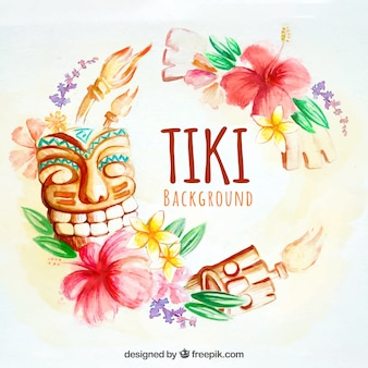 Watercolor tiki background