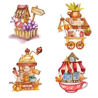 Набор акварельных крошечных домиков
