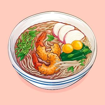 Watercolor toshikoshi soba