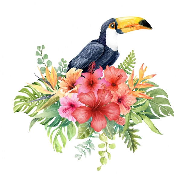 Watercolor toucan in hibiscus flower bouquet