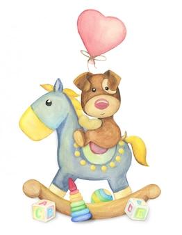 Акварельные игрушки, собака и лошадь, иллюстрация