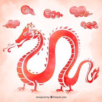 Watercolor traditional chinese dragon
