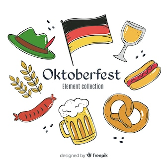 Watercolor traditional oktoberfest element collection