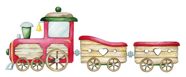 만화 스타일의 수채화 기차. 크리스마스 상징