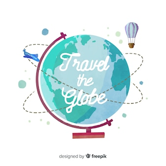 Watercolor travel background with a globe earth