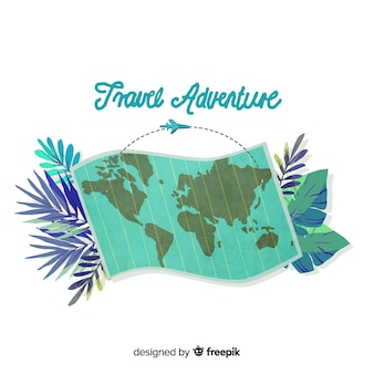 Watercolor travel background with a map