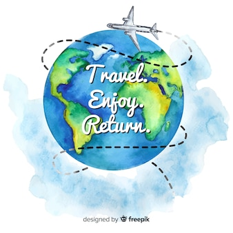 Watercolor travel background with motivational quote