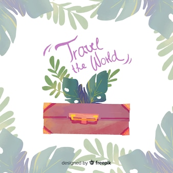 Watercolor travel background with a suitcase