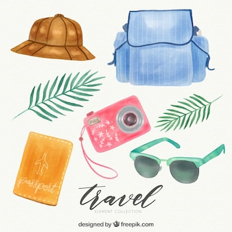 Watercolor travel element collection