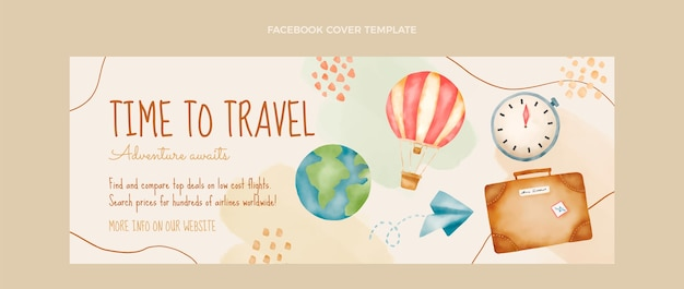 Watercolor travel facebook cover