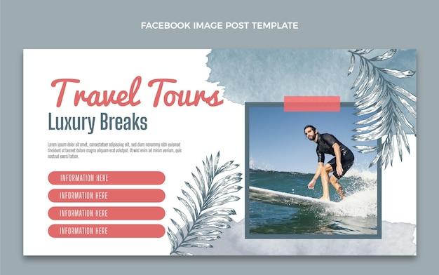 Post facebook di viaggio ad acquerello Vettore gratuito