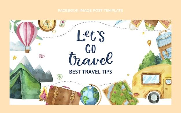 Watercolor travel facebook post