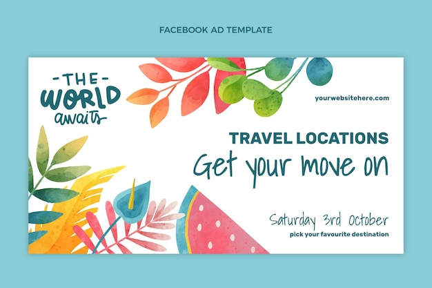 Watercolor travel facebook template