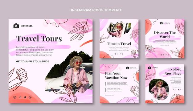 Watercolor travel instagram post