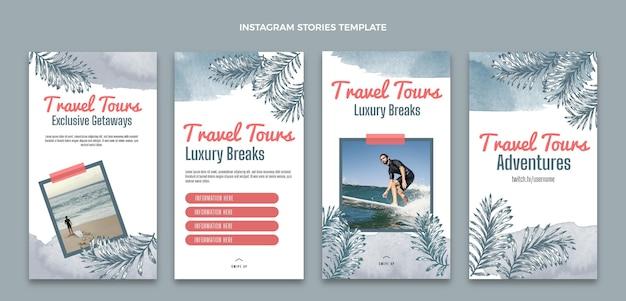 Watercolor travel instagram stories