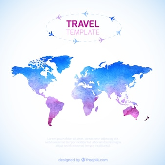 Watercolor travel map template