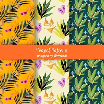 Watercolor travel pattern collection