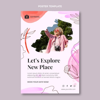 Watercolor travel poster template